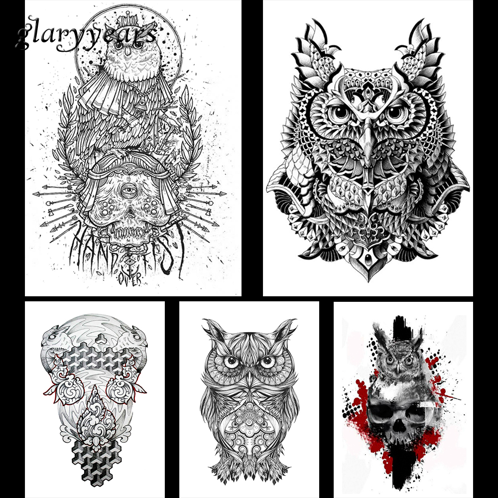 5 Pieces Owl Pattern Design Waterproof Body Arm Leg Art Tattoo Sticker Animal Skull Decal Temporary Tattoo Sticker Fashion KM#04