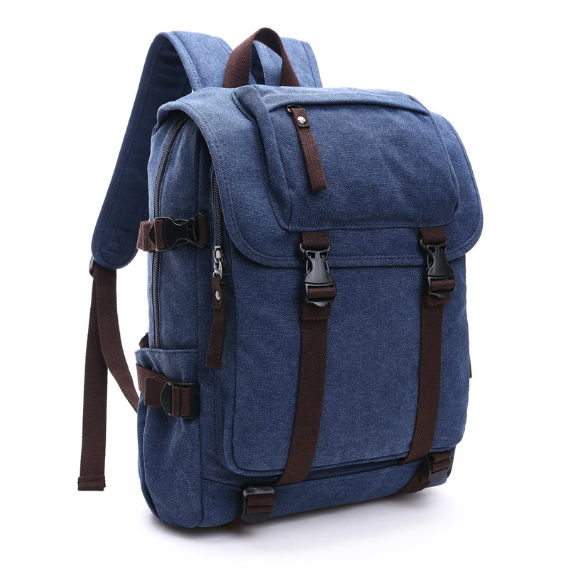 2018 Fashion Men Canvas Leather Backpack College Student Multifunction Travel Waterproof Laptop Mochila Bags