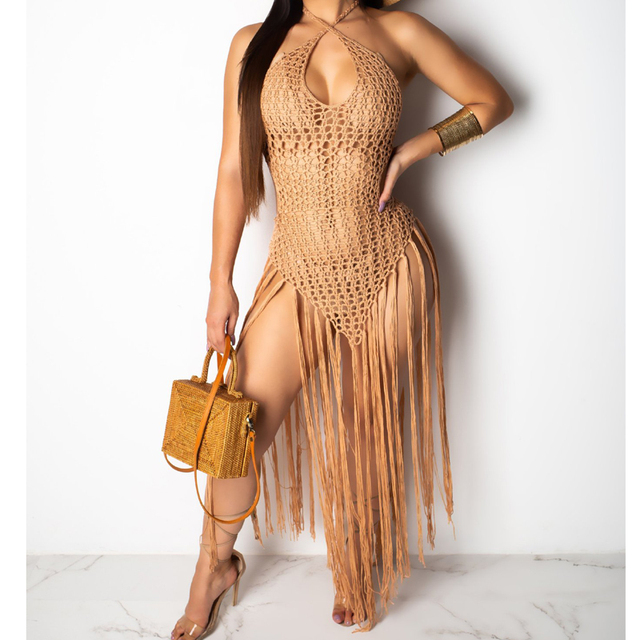 2019 summer Crochet hollow out tassel Beach Cover up dress sexy women bikini swimsuit Cover ups bathing suit Cover up Robe Plage 2