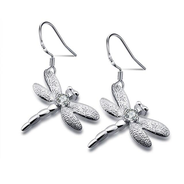 Fashionable woman charm earrings, 925 sterling silver dragonfly cute earrings, solid silver earrings, girl silver jewelry
