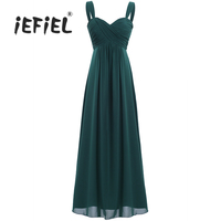 iEFiEL New for Weeding Party Dress Women's Ladies Chiffon Pleated Rural Long Evening Prom Gown Sleeveless Elegant Formal Dresses
