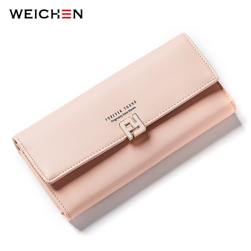 WEICHEN New Arrivals Fashion Women Long Wallet Clutch Soft Leather Female Wallets Purse Ladies Phone Pocket Coin Card Holder new arrival 2017 wallet long vintage man wallets soft leather purse clutch designer card holders business handbags clips