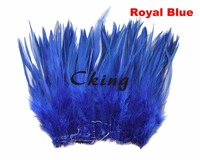 12 15cm Rooster saddle feather strungs Royal Blue Dyed chicken hackle feather rolls sewing fringes 1kgs/lot 23 colors