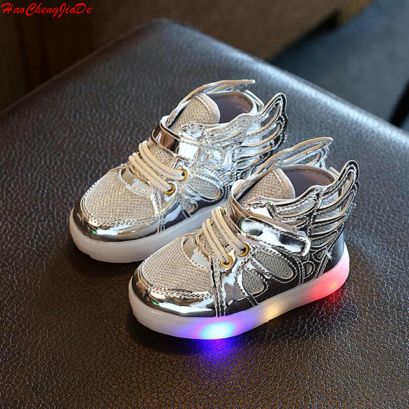 Free Gift Girls Luminous LED Light Shoes Angel Wings Baby ...