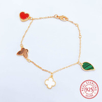 2019 four leaf clover bracelet s925 sterling silver rose butterfly love leaf jewelry send lover gift New Hot