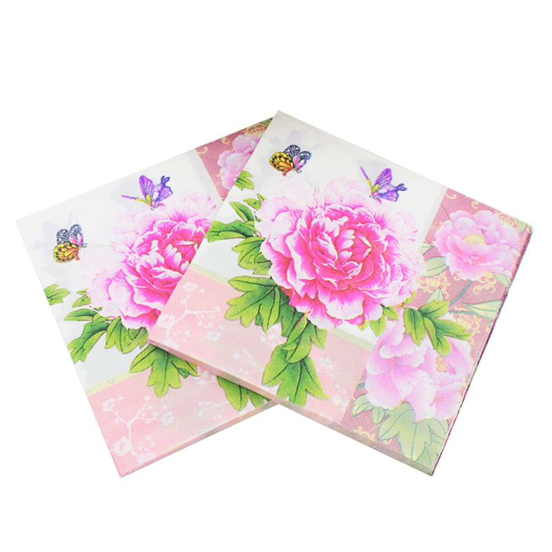 33*33cm 20PCS/Pack Wedding Pink Fresh Pattern Paper Napkin 100% Virgin Wood Paper Napkin for Hotel Cafe decoration