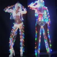 Quadruple LED Perspective Performance Clothing Novelty Lighting Nightclub DJ Disco dancing Costume Flashing Glowing Jacket Pants