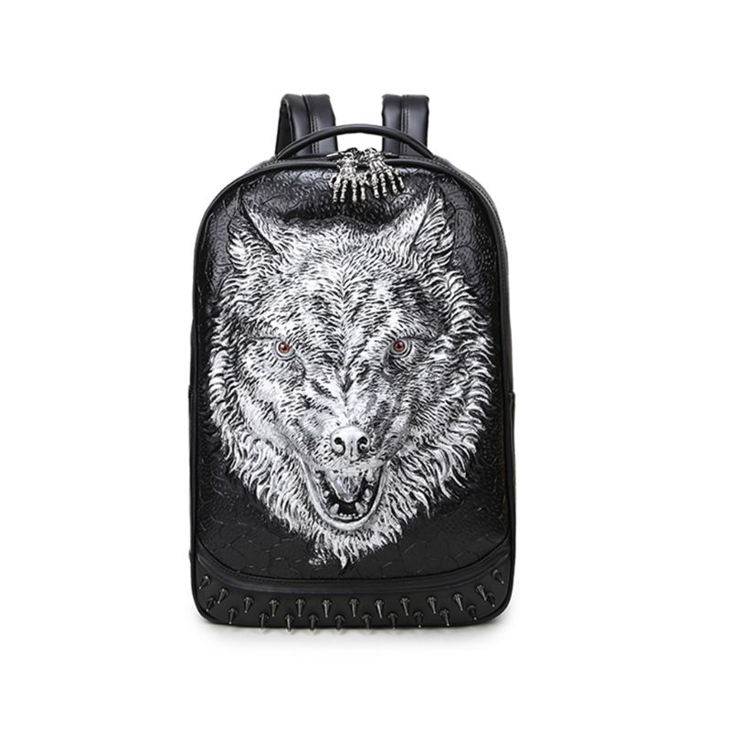3D Wolf Head Pattern Casual Daypacks Leather Backpack for Men School Hiking Outdoor Laptop Rucksack College Bag3D Wolf Head Pattern Casual Daypacks Leather Backpack for Men School Hiking Outdoor Laptop Rucksack College Bag