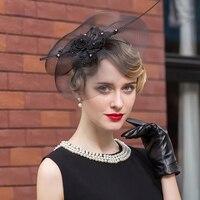 Black Women Floral Veil Netting Pillbox hats for women Fedoras Formal Occasion Dance Party black hat Elegant Headwewar
