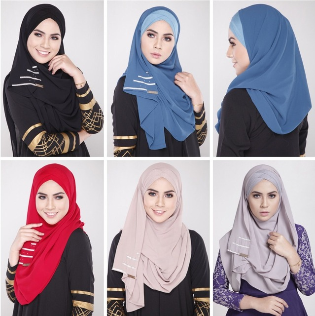 New Muslim Women Headscarf Covering hijab Abaya Scarf Islamic Cover Wears Fashion Chiffon Easy Matching Inner Hijab Spandex