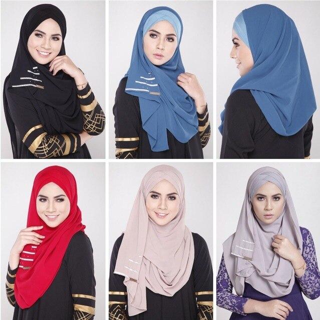 Nouveau Femmes Musulmanes Foulard Couvrant hijab Abaya Écharpe Islamique  Couverture Porte De Mode Mousseline de Soie