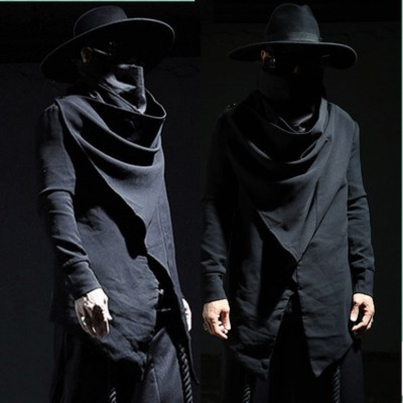 Men Hooded Sweatshirts Black Gown Hip Hop Mantle Hoodies Brand Fashion Long Sleeve Open Front Cloak Mans Coat Jacket Streetwear