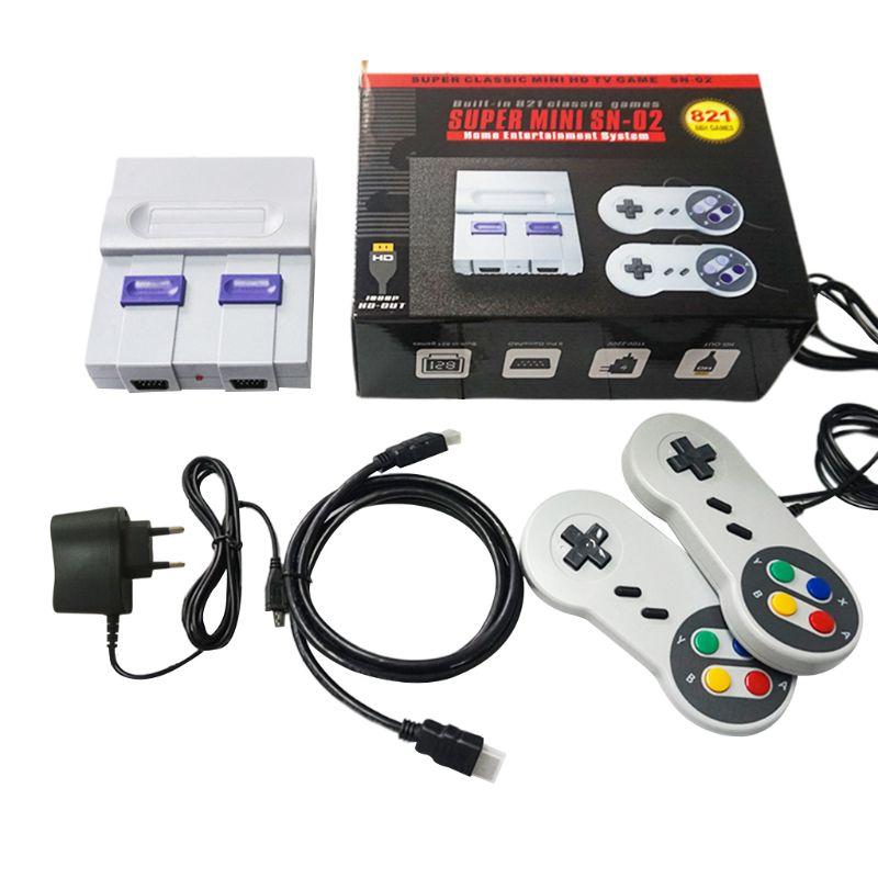 EU Plug SUPER MINI HDMI Retro Classic Video Game Console TV Game Player Built in 821 Games with Dual Gamepads For SNES SFC NES