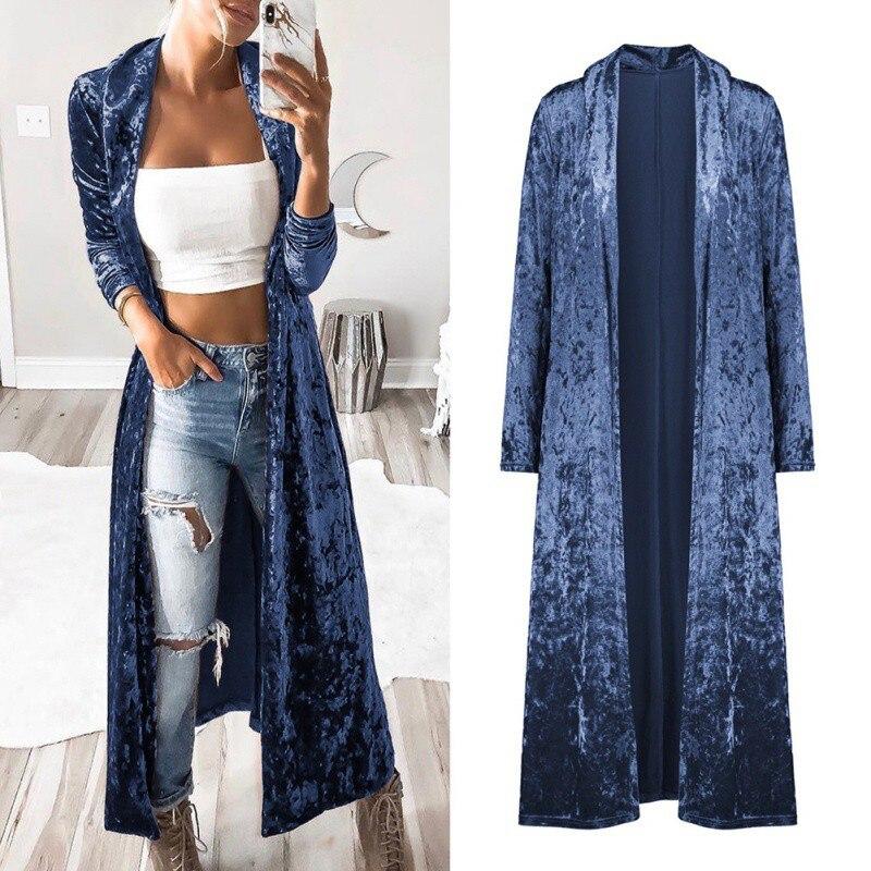 Autumn Velvet Coat Women Fashion Open Front Long Sleeve Lapel Neck Slim Windbreaker Party Maxi Long Jacket Cardigan