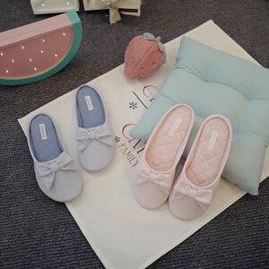 Image 2 - Pantoufles de sol avec nœud papillon mignonnes pour femmes, antidérapantes, respirantes, pantoufles dintérieur pour chambre à coucher, printemps automne