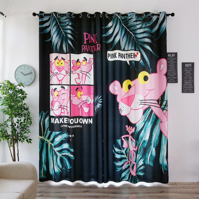 2018 New Blackout Window Curtains 3d Pink Panther Anime Pattern ...