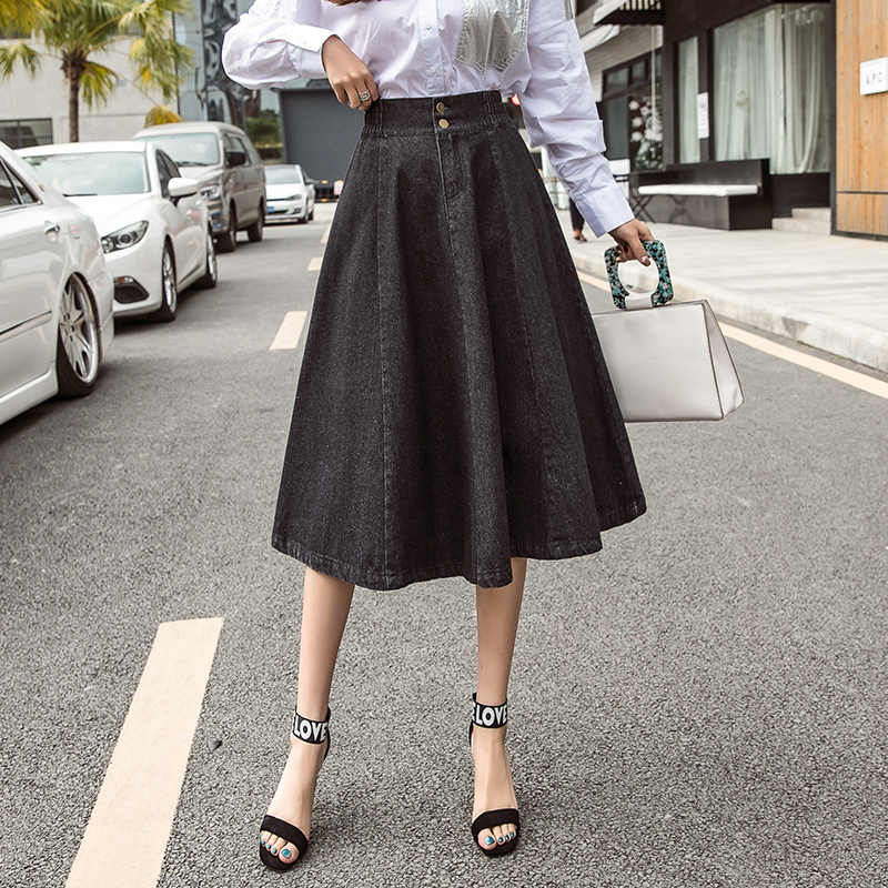 XXL długi Denim spódnica w stylu Vintage przycisk wysokiej elastyczny pas czarny niebieski Slim kobiety spódnice Plus Size panie biurowe Sexy Jeans faldas