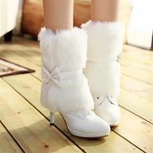 Boots PU winter white pink wedding shoes bridal medium-leg plus size 40 41 42 high heel 9CM Platform 2CM EUR Size 32-43