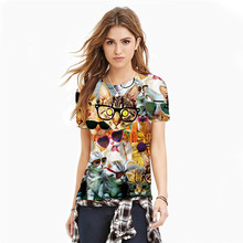 2016 New Women Tees Cute Cat Animals HD Print Funny T shirts Plus Size Short Sleeve