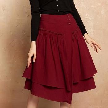 Artka осень Для женщин юбка 2017 асимметричный-line юбка Для женщин Лоскутная Высокая талия юбка женский красный Винтаж юбка QA10173Q