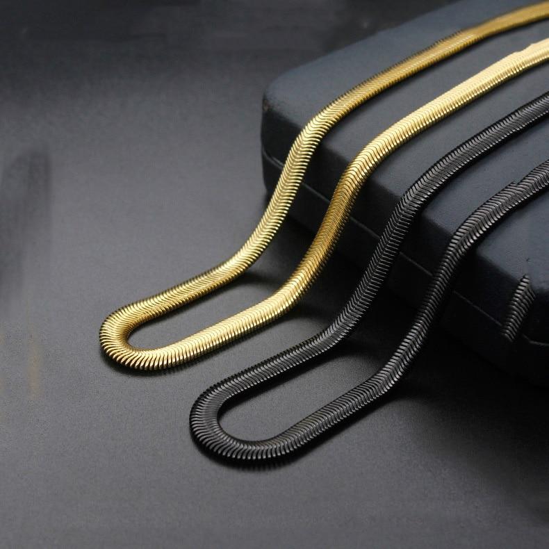 Ожерелье из нержавеющей стали, плоское колье из титановой стали с змеей, цвет золото и черный