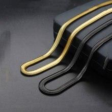 Moda nova aço titânio plana cobra colar de aço inoxidável colar de ouro e cor preta tendência colar venda quente