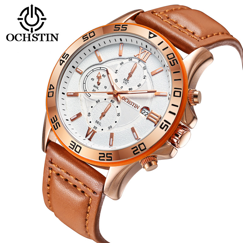 Sport Mens Watches Top Brand Luxury Male Leather Chronograph Quartz Military Wrist Watch Men Clock Fluorescence Leather Band mens watch top luxury brand fashion hollow clock male casual sport wristwatch men pirate skull style quartz watch reloj homber