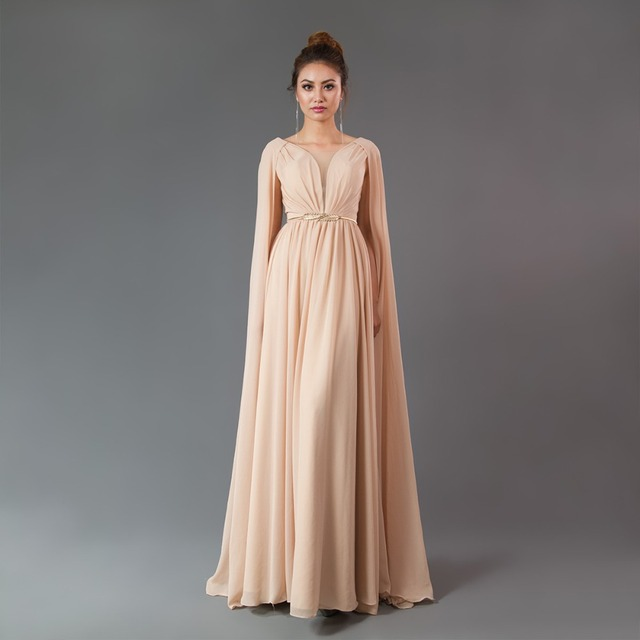 CAZDZY New 2018 Prom Dresses Long sleeve Champagne evening dress puffy V-neck Crepe Zipper Back Evening Gown