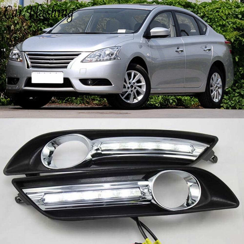 Car Flashing 2pcs For Nissan sentra Sylphy 2012 2013 2014 2015 LED DRL Daytime Running Lights
