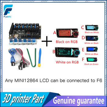 Fysetc F6 V1.3 Board Alle-In-een Elektronica Oplossing + 6 Pcs TMC2100 V1.3 Stappenmotor Driver + MINI12864 Lcd Display Mini 12864