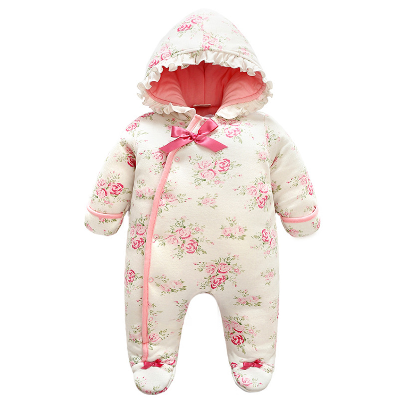 2018 Winter Clothes Baby Girls Rompers Long Sleeve Printing Thickening Kids Jumpsuit Feet Boys Romper Children Jumpsuits 4rr174 2017 baby boys girls long sleeve winter rompers thicken warm baby winter clothes roupa infantil boys girls outfits cc456 cgr1