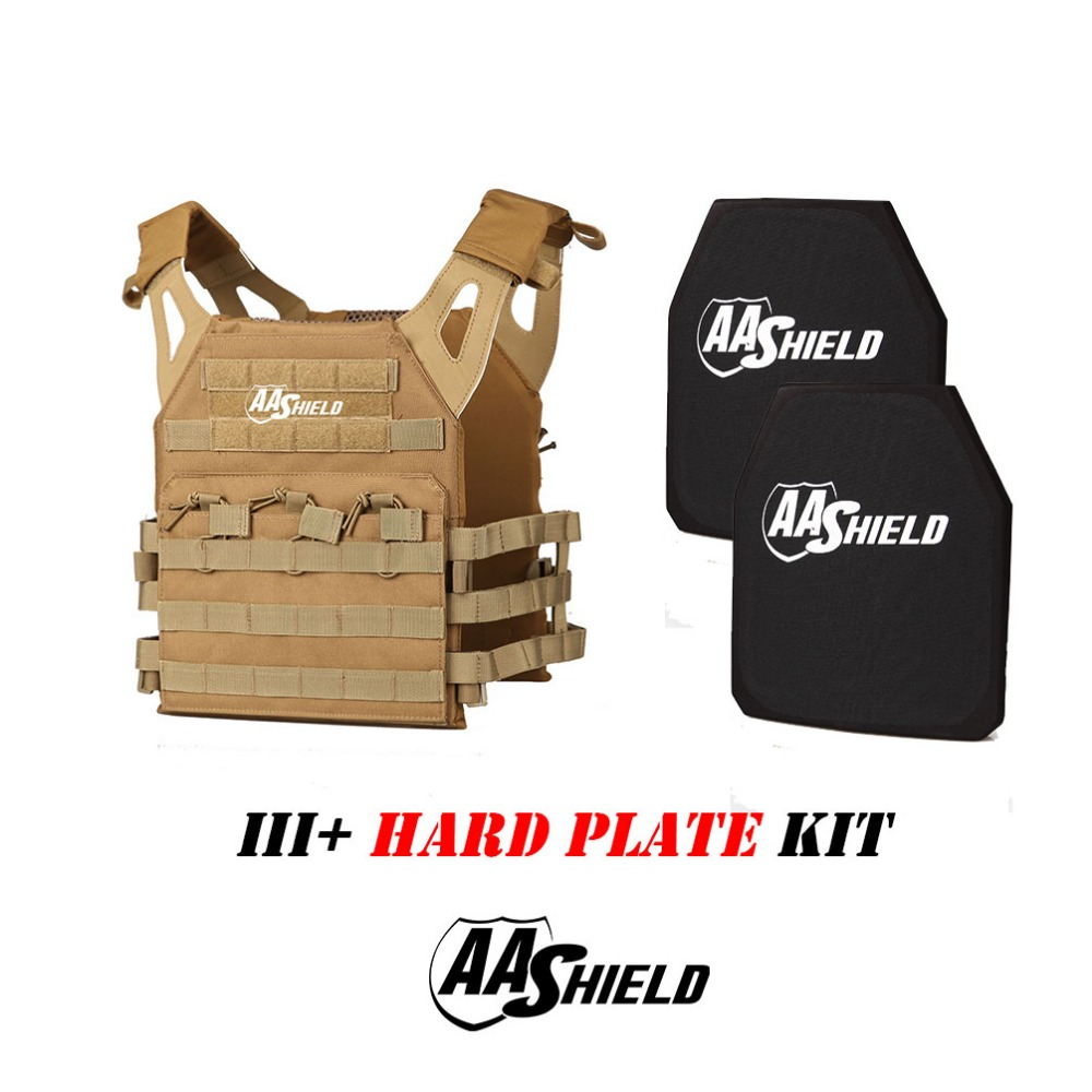 AA Shield Molle Lightweight Military Tactical Vest JPC Style Level III Rifle Plate Kit/TAN