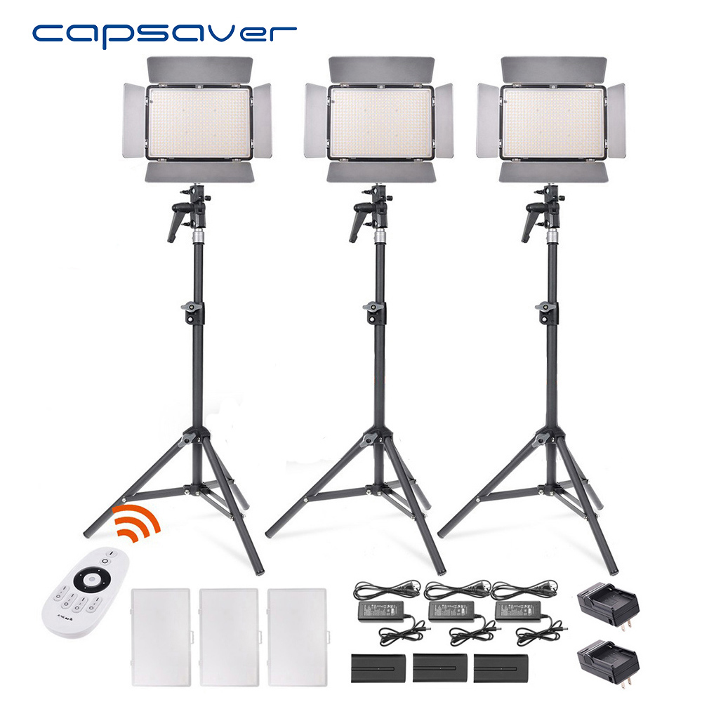 capsaver TL-600AS LED Video Light 3 in 1 Kit Photography Lighting Bi-color Dimmable 3200K-5600K CRI 95 Remote Control NP-F550