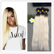 Full Shine  3 Bundls Brazilian Straight Hair Two Tone Omber Weave 100 Huaman Hair Sew in 1b 613 Blonde Color 50g Per Pack