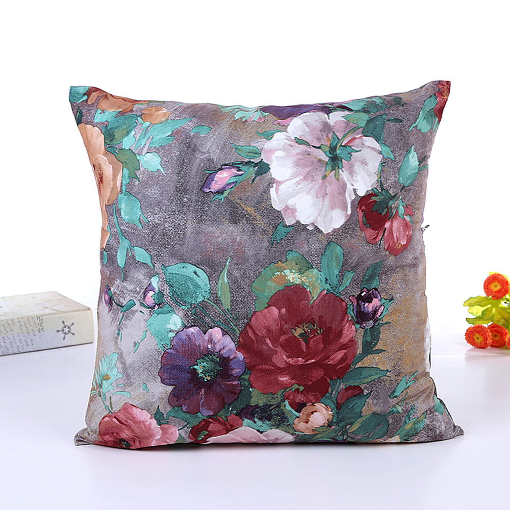 cheap Flowers Cushion Cover Linen Throw Pillow Case Sofa Covers Home Decor IT6601-in Cushion ...