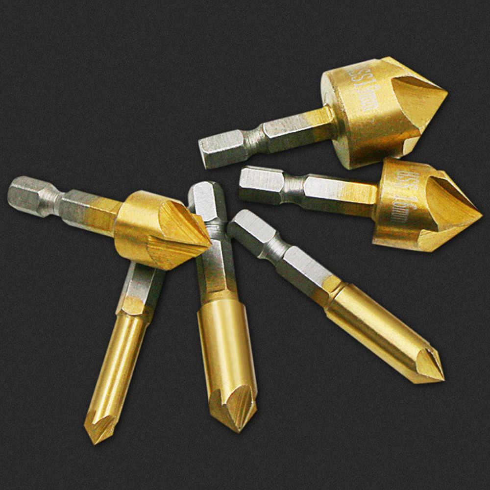 3 Buah Mata Bor Flute Countersink Bor Bit Set Meja 6-19 Mm Wastafel Talang Cutter Kualitas Tinggi 3 tipe Papan Kayu