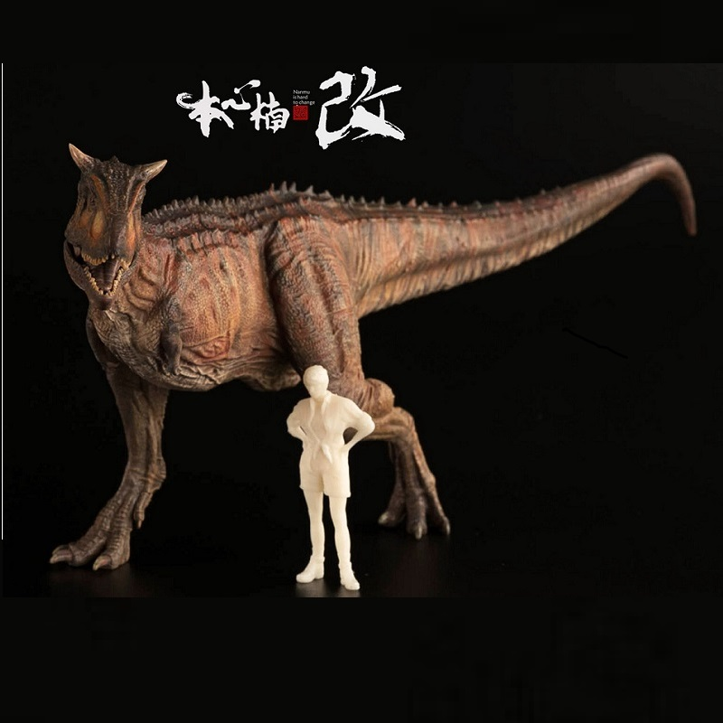 New Arrival 1:35 Nanmu Studio Ranger Carnotaurus Dinosaurus Animal Figure With Human Classic Toys For Boy Collection Movable Jaw