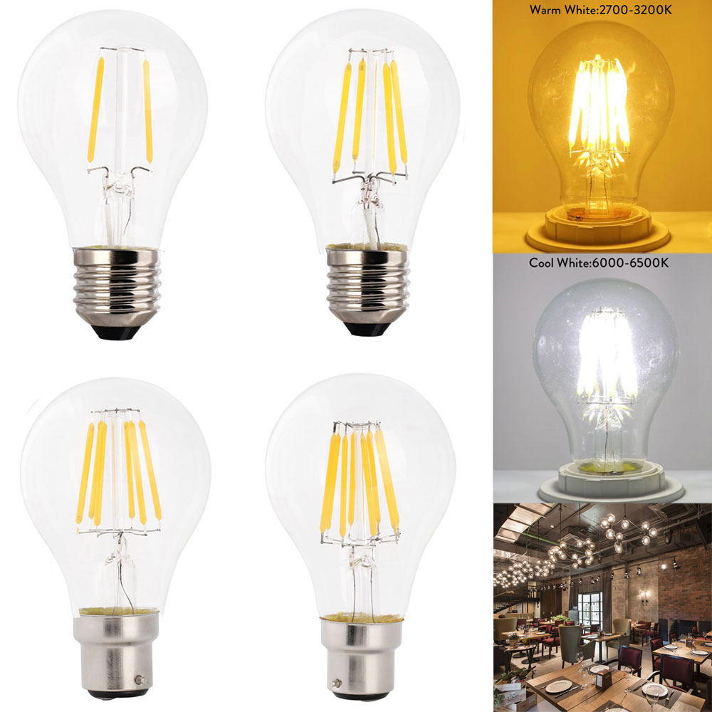 Dimmable Retro LED Filament Bulb A60 2W/4W/6W/8W E27AC 220V B22 Bayonet Warm White Cold White  Clear Glass Shell Edison Lamp