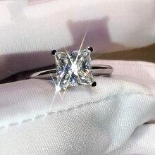Классическое Сверкающее ювелирное изделие, чистое серебро 925 пробы, принцесса 5А, цирконий, CZ, простое женское обручальное кольцо