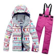 New 2014 free transport Sizzling sale girl geometric form snowboard ski go well with jacket garments units pants windproof waterproof