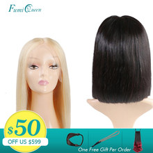 Brazilian Remy Hair Part Lace Wigs 130% Density Middle Part #1B/#613 Short Human Hair Wigs Ali FumiQueen Hair Lace Front Wig(China)