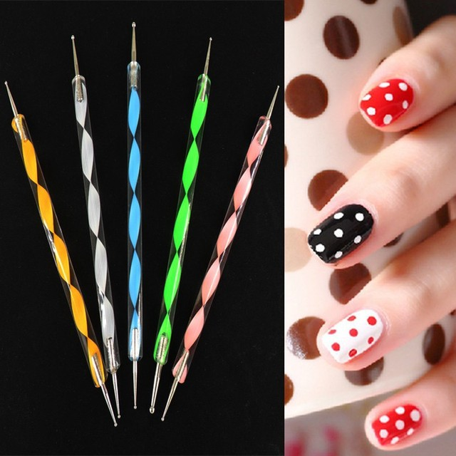 Nail Dotting Pen Set 5 X 2 Ways Art Tool Dot Kit Acrylic Handle Dotter