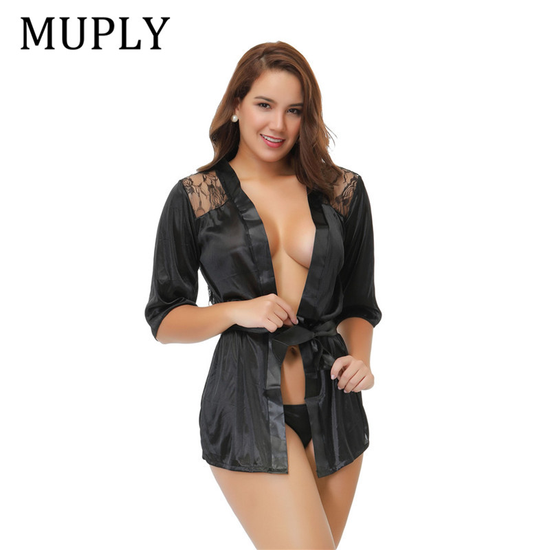 2019 New Women Erotic Underwear Hot Sexy Lingerie Black Intimate Sleepwear Robe Sexy Night Gown Lenceria Sexy Nuisette Babydoll