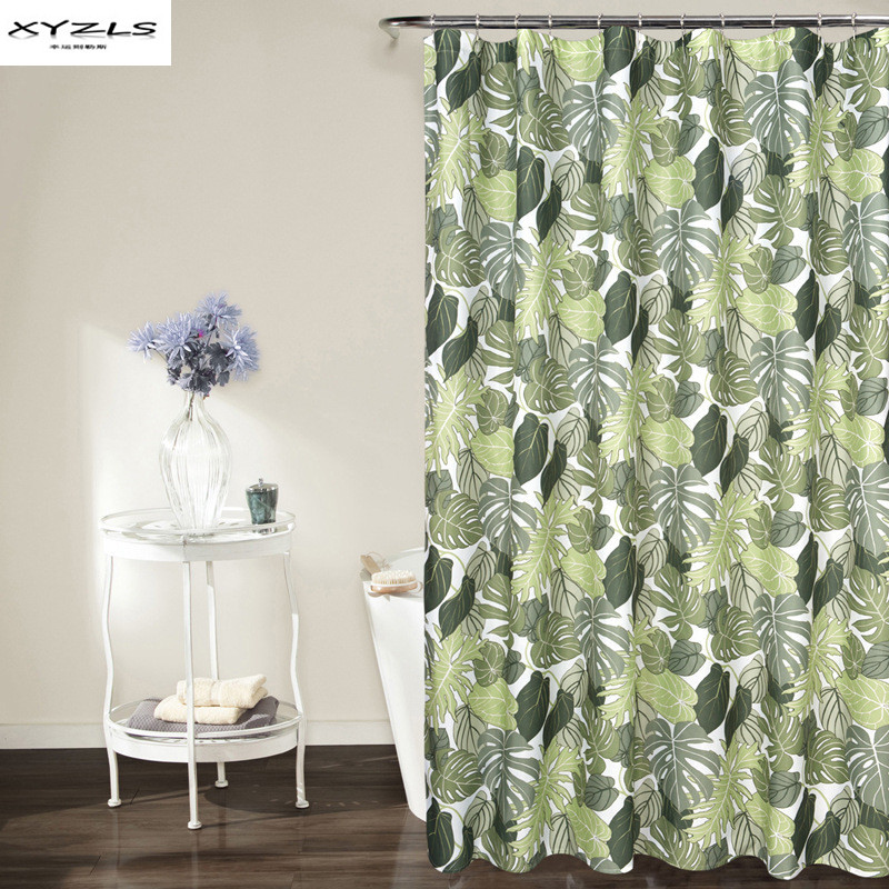 XYZLS Modern Style Green Leaves Pattern Shower Curtain Polyester Waterproof Curtain for the Bathroom