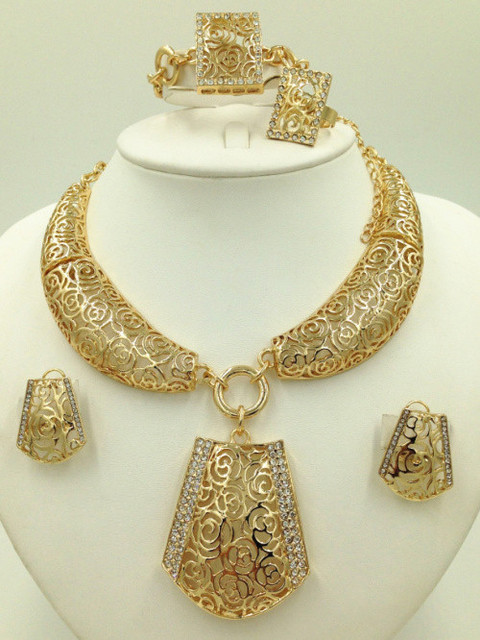 fc8332e21492f African Jewelry Sets Fine Wedding Gold Plated Crystal Necklace Set Party  Women Fashion Bridal Ring Bracelet Earrings Accessories-in Jewelry Sets  from ...