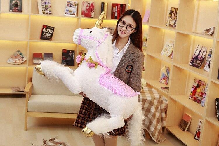Grand 90 cm blanc enclin licorne peluche jouet doux poupée jeter oreiller jouet cadeau de noël h0899