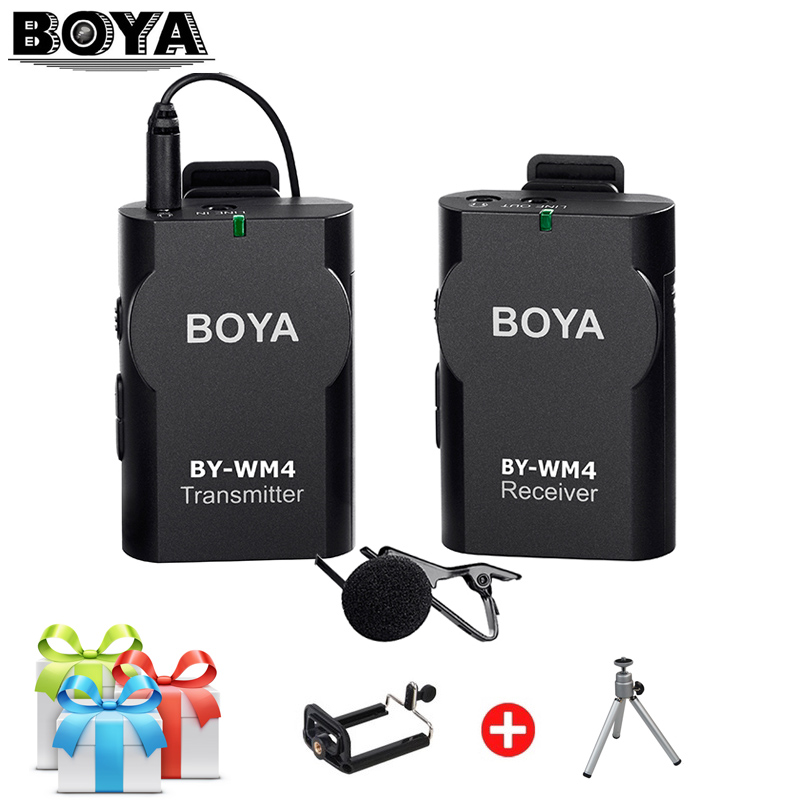 boya by wm4 professional wireless microphone system lavalier lapel mic for canon nikon sony dslr. Black Bedroom Furniture Sets. Home Design Ideas