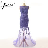 Vnaix P1140 Beautiful Lace Mermaid Purple Long Prom Dress Customized Women Party Formal Evening Special Occasion Gown