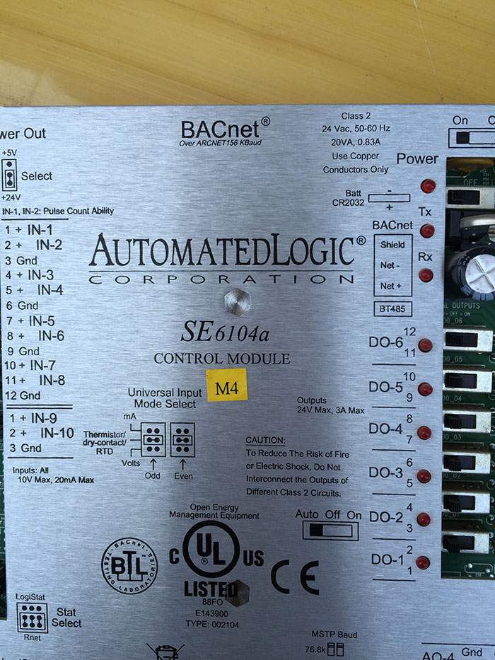 SE6104A AUTOMATED LOGIC SE6104A BACNET CONTROL MODULE 24V-AC 20VA 0.83A AMP D539649  used in good condition mystery bm 6104