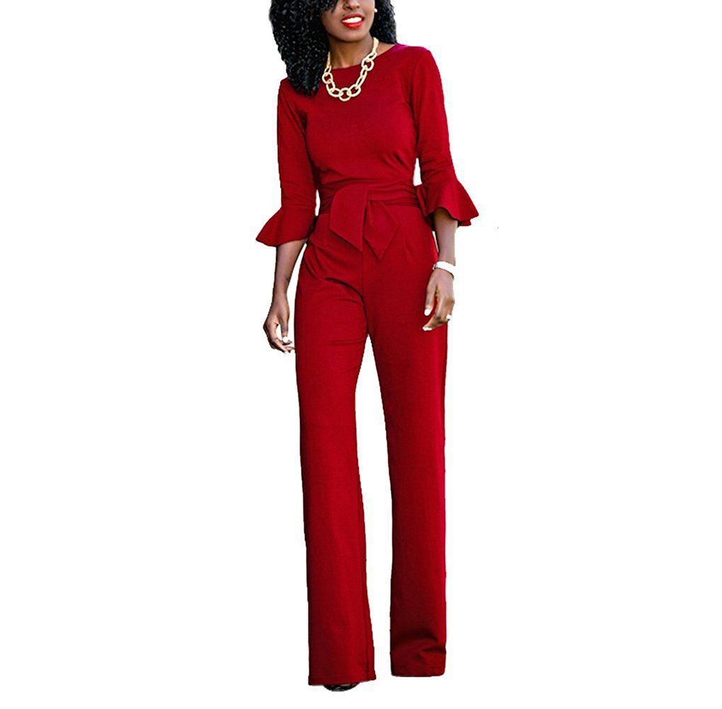 New 2017 Women Elegant   Jumpsuits   Long Sleeve Ruffles   Jumpsuit   Romper Wide Leg Pants Trousers Clubwear